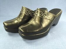 "Womens NATURALIZER Black Leather Platform Clog 3"" High Heel Mule Shoe 7M - Nice!"