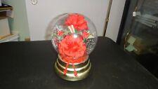 Vintage Clear Ball W/Roses Flowers Inside Rotating Handmaid Music Box