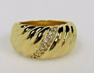 Stainless Steel Wave Design Ring Goldtone Sz 9