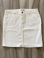 Earl Jean Womens Skirt White Denim Jeweled Accents Pockets 12