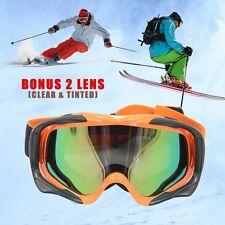 ORANGE MENS SNOW SKI SNOWBOARD GOGGLES + BONUS CLEAR & TINTED REPLACEMENT LENS