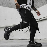 Mens Multi-pocket Harem Pants Jogger Trousers Cargo Combat Street Hip-hop Loose