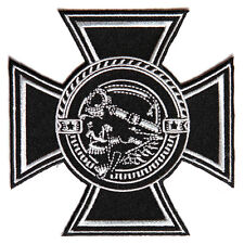 Embroidered Biker Skull with Maltese Cross Iron on Sew on Biker Patch Badge