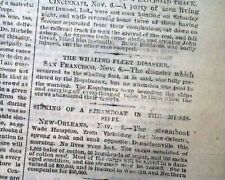 WHALING FLEET Disaster Bowhead Whales Hunting Arctic Ice Jam 1871 NYC Newspaper