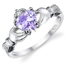 Alexandrite Lavender Heart Claddagh St 00004000 erling Silver Ring 9 mm - Sizes 3 - 12.5