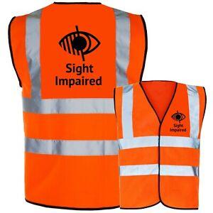 Sight Impaired Blind Aid Printed Hi Vis Safety Vest Hi Viz Waistcoat Tabard NEW