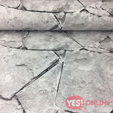 3d Brick Stone Slate Wallpaper Realistic Rocks Embossed Grey Black Weathered P S