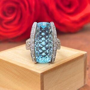 Estate 10KT White Gold Large Fantasy Cut Blue Topaz + Pave Diamond Unique Ring 7