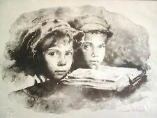 SANDU LIBERMAN FINE ART, LITHOGRAPH, SIGNED LIMIT 55/200 TWO BOYS WOOD FRAME