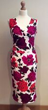PHASE EIGHT WHITE  RED PINK FLORAL DRESS SIZE 12 STRETCH BODY-CON WEDDING