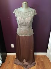 Jade Couture Taupe Mother of the Bride Groom Formal Dress Womens Size 12