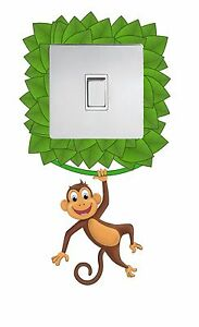 JUNGLE MONKEY LIGHT SWITCH STICKER CHILDREN'S BEDROOM ADHESIVE VINYL