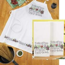 Herrschners® Cooking with Wine Towel & Apron Stamped Cross-Stitch