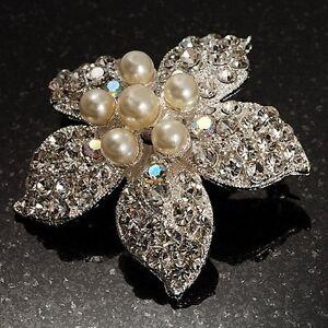 Silver Pearl Crystal Flower Jewelry Imitation Bouquet Hijab Jacket Brooch Pin UK