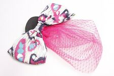 Stunning Party Costume Accessory Hair Clip/Brooch w Large Bow&Pink Netting(S313)
