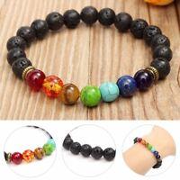 Lava Stone Bracelet Essential Oil Diffuser Aromatherapy 7 Bead Chakra Healing