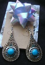 """Handmade"" Silver Drop Pierced Earring Dangle Beautiful Blue Lucite Crystal hook"