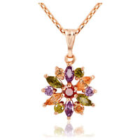 Zircon Flower Pendant necklace For Women Rose Gold Plated Chain Necklace PK O7U5