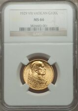 VATICAN CITY 1929 100 LIRE GOLD COIN, GEM UNCIRCULATED, CERTIFIED NGC MS-66