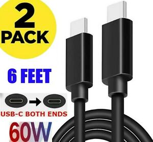 2 Pack 6FT USB-C to USB-C Cables Super Fast Charge Type C Charging Cord Charger