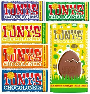 TONY'S SLAVE FREE CHOCOLATE BAR EASTER FAIRTRADE 6 FLAVOURS MILK DARK CARAMEL
