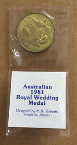 Australian 1981 Royal Wedding Medal : Designed by M.R. Roberts & Struck by Amors