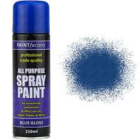 9 x 250ml All Purpose Blue Gloss Spray Can Household Car Van Bike Aerosol Paint