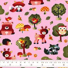 Cotton Fabric FQ. Woodland Animals Floral Polka Dot Mushroom & Tree Cartoon VA89
