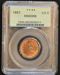 1857 Braided Hair Half Cent. C-1 Rarity-2 MS63 RB PCGS. OGH