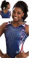 Simone Biles GK Elite LEOTARD Gymnastics FIREWORK Sequin BLING Bodysuit Size: CM