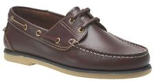 MENS SIZE 7 8 9 10 11 12 BROWN LEATHER LACE BOATING BOAT DECK SAILING YACHT SHOE