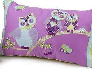 Girls Hooty Owl Appliqued Kids Bedroom Decorator Rectangle Cushion