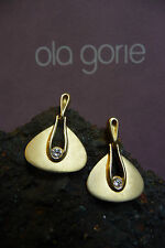 Inspired by Bauhaus Furniture 1920s Germany Ola Gorie 9ct Gold Diamond Earrings