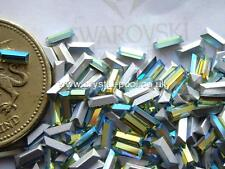 36 x Swarovski 2 mm x 5 mm PERIDOT AB silver-foiled # 109 baguettes