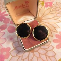 Vintage 1980s Signed Designer Erwin Pearl Goldtone & Black Disc Clip Earrings