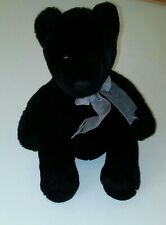 "10"" Black Plush Teddy Bear Stuffed Animal Toy used"