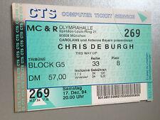 CHRIS DE BURGH 1994 Munich original Concert-Concert-billet