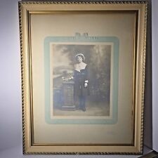 Antique Photograph Young Lady Framed Signed Wm Elsmore St Enoch Square Glasgow