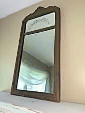 Antique Vintage Old Etched Cut Glass Mirror Wood Frame 30 X 15 Trumeau ❤️tw11j