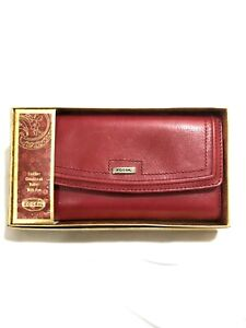 Fossil NWT Genuine Leather Wallet Red Topstitch Bifold Checkbook Pen ID