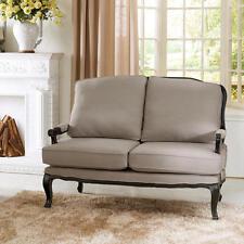 French Antique Chic Shabby Beige Gray Linen Black Oak Legs Sofa Loveseat New