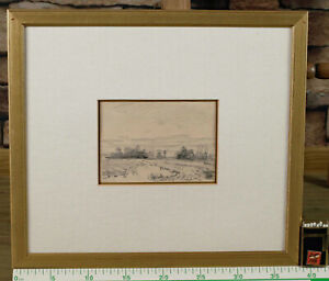 Zeichnung antik beidseitig bemalt Landschaft Windmühle Holland Studie Miniatur 2