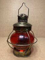 Lampe tempête ou Fanal de bateau, laiton verre rouge, années 60' Vintage