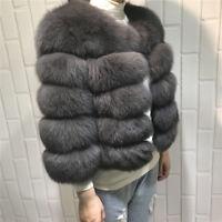 Women Natural Real Full Pelt (Vulpes) Fox Fur Coat Jacket Overcoat Outerwear