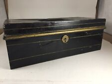 Antique Black Gold Metal Cash Box - No Key