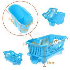 Blue Kitchen Sink Dish Drying Rack Drainer Washing Holder Basket Organizer Tray