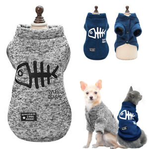 Dog Jumpers Medium Small Clothes Sweaters for Dogs Cats Pet Supplies Grey Blue