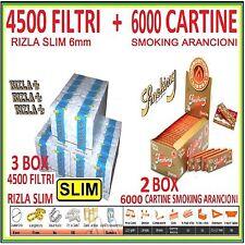 4500 FILTRI RIZLA SLIM 6mm + 6000 CARTINE SMOKING ARANCIONI CORTE
