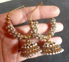 Antique Gold Plated Pearl CZ Indian Party Ring Jhumki Jhumka Earrings c..