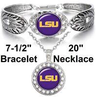 LSU Tigers Necklace and Bracelet Set